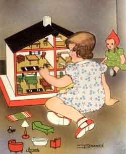 Meisje met poppenhuis