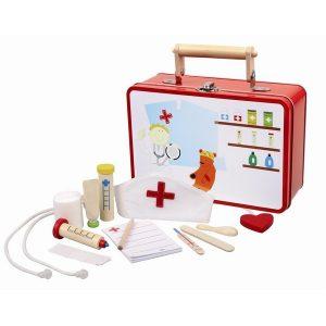 dokterskoffertje blik met houten en stoffen accessoires
