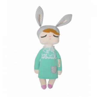 Kanindocka pop met konijnenoren, nieuw groene jurk, grijze oren