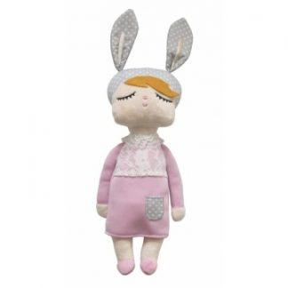 Kanindocka pop met konijnenoren, roze jurk grijze oren