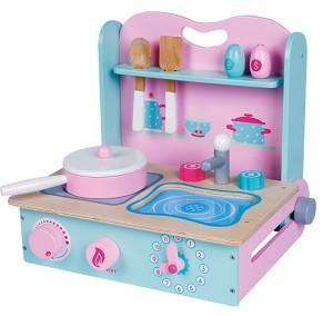 Lelin toys kinderkeuken opvouwbaar roze/lila met mintgroen/blauw met pannetje en accessoires