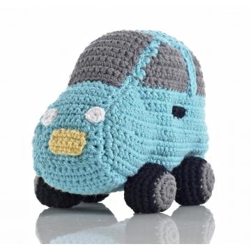 Pebble rammelaar-blauwe auto gehaakt
