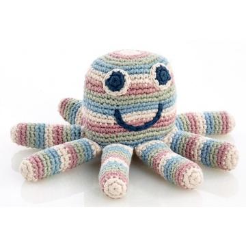 Pebble rammelaar octopus pastel , gehaakt