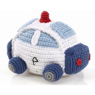 Pebble rammelaar- politie auto, blauw met wit gehaakt