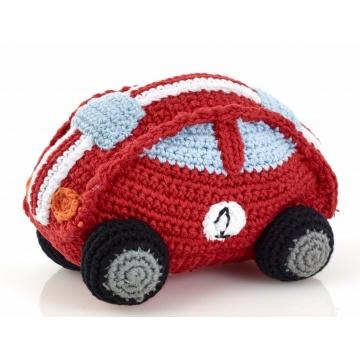 Pebble rammelaar, race auto rood, gehaakt