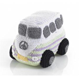 Pebble rammelaar-volkswagen camperbusje, gehaakt, wit, grijs, lila en lichtgroen