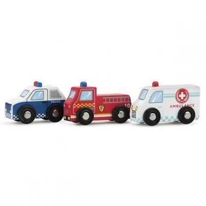 New Classic Toys auto set 3 stuks politie brandweer en ziekenauto