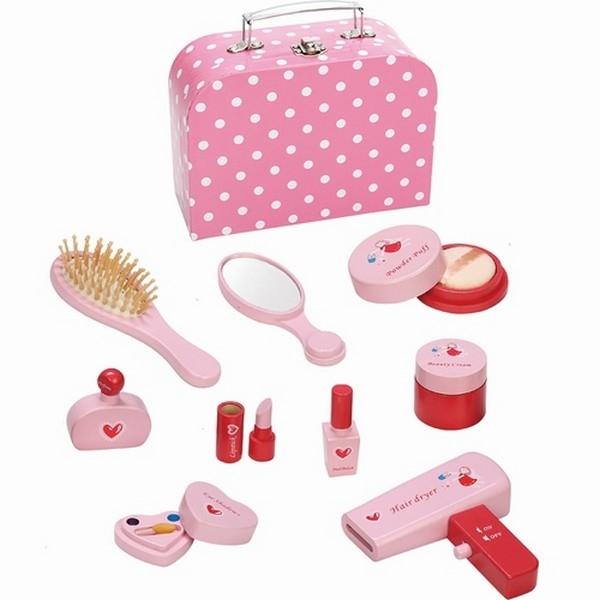 make-up-koffer inclusief accessoires roze met witte stip