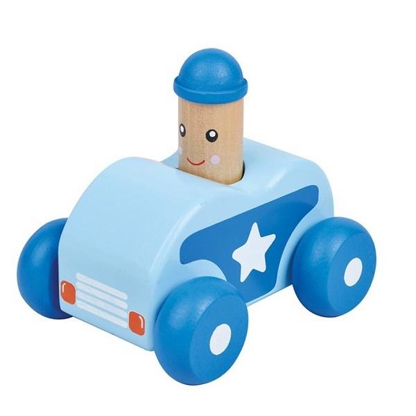 squeaky auto blauw van hout met poppetje