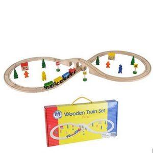 Mentari houten treinset, spoor met brug, een trein en accessoires. 35-delig