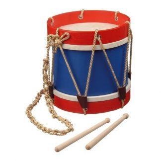 houten fanfaretrommel blauw met rood en drumstokjes