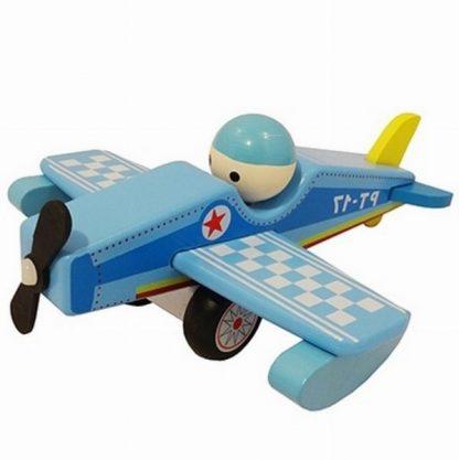 vliegtuig blauw hout met vaste pop