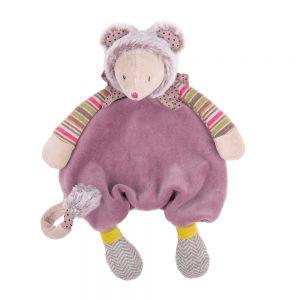 Moulin Roty knuffeldoekje voor fopspeen muis paars
