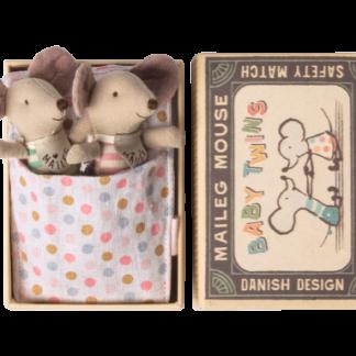 Maileg mouse baby twins in box baby muizen tweeling in luciferdoosje