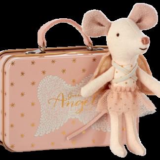 Maileg mouse guardian angel in suitcase engel muis in roze koffertje
