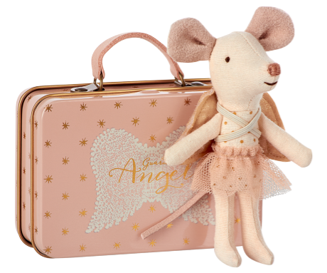 Maileg mouse guardian angel in suitcase engel muis in roze koffertje