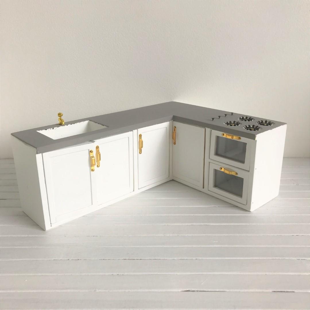 Goede Keukenblok wit met grijs blad – Skattich QF-14